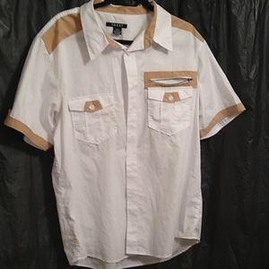 Trust white and tan short sleeve shirt 2xl